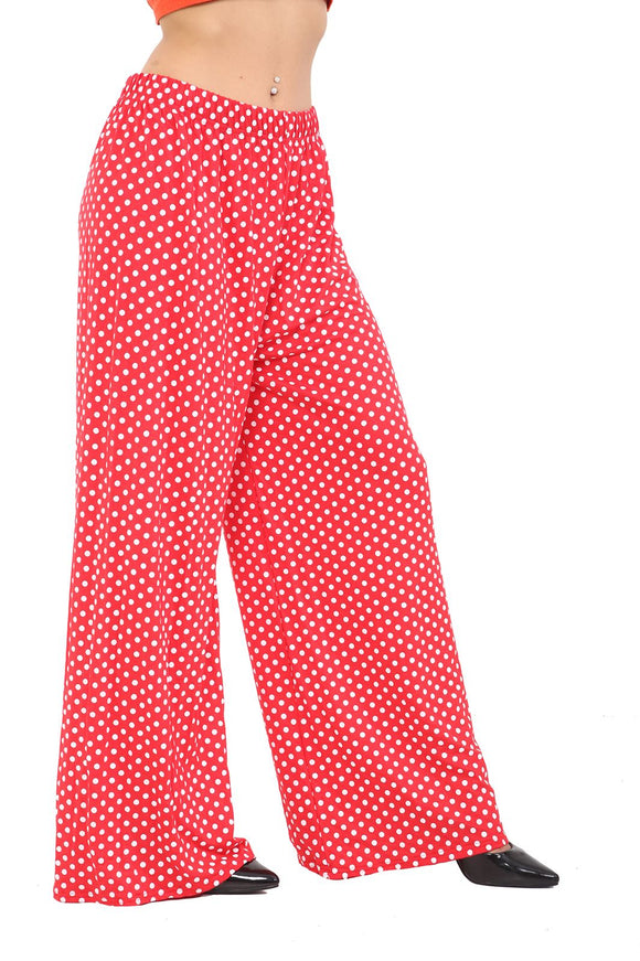 Polka Dot Wide Leg Palazzo Trouser red