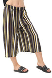 Wide Leg Brown Stripe Culotte Trouser