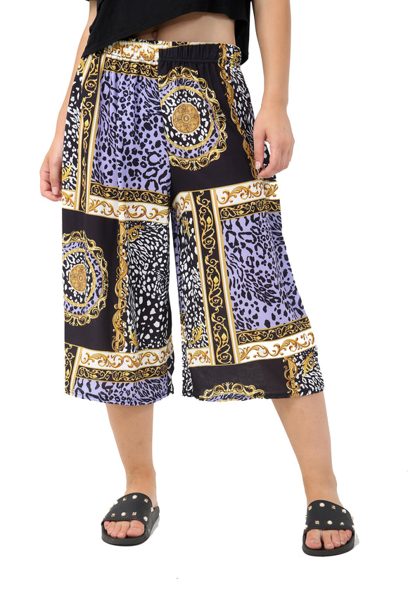 Wide Leg Gold Chain Leopard Culotte Trouser