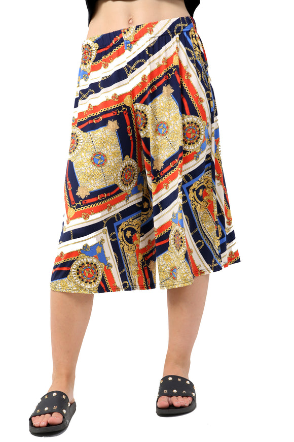 Wide Leg Gold Chain Belt Print Culotte Trouser
