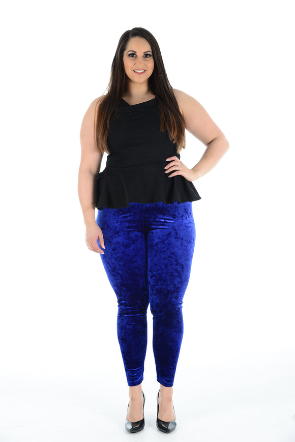 Women's Velvet Royal Blue Leggings Pants For Ladies Plus Size