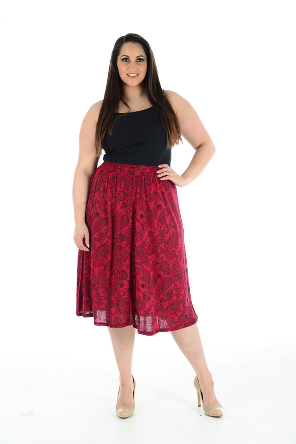 Women's Stretch High Waist Printed Flared Ladies A-Line Skirt Midi Plus Size
