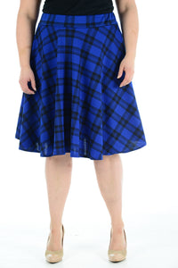 Womens New Blue Tartan Check Printed Ladies Stretch Fit Flared Skater Skirt Plus Size