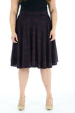 Womens New Black Tartan Check Printed Ladies Stretch Fit Flared Skater Skirt Plus Size