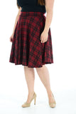 Womens New Wine Tartan Check Printed Ladies Stretch Fit Flared Skater Skirt Plus Size