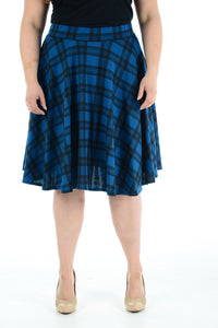 Womens New Royal Blue Tartan Check Printed Ladies Stretch Fit Flared Skater Skirt Plus Size