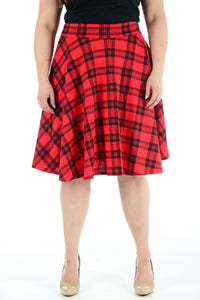 Womens New Red Tartan Check Printed Ladies Stretch Fit Flared Skater Skirt Plus Size