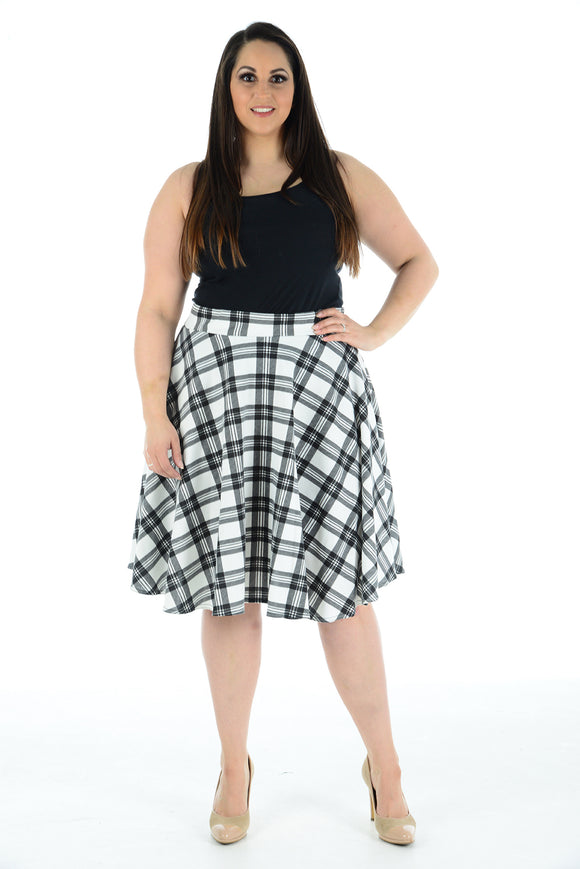 Womens New White Tartan Check Printed Ladies Stretch Fit Flared Skater Skirt Plus Size