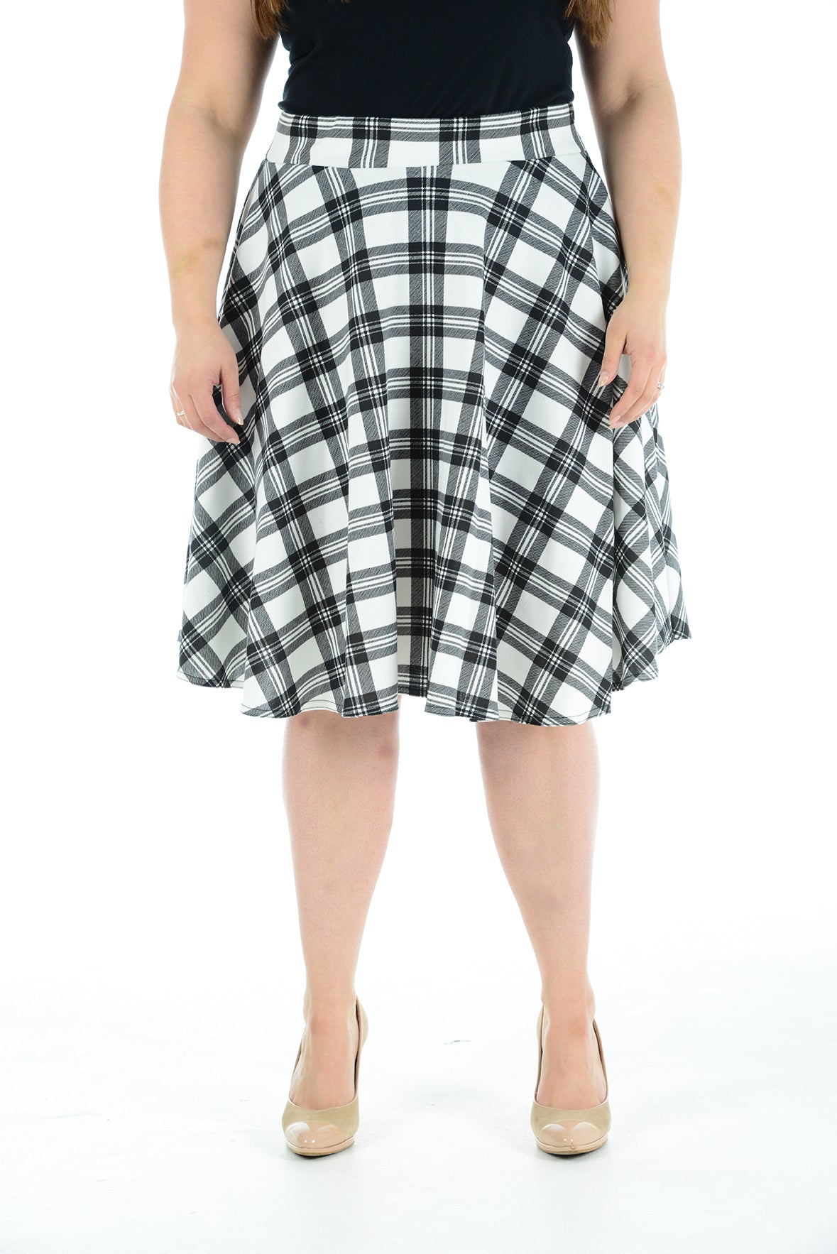 Womens New Tartan Check Printed Ladies Stretch Elasticated Waistband Fit Flared Skater Skirt Plus Size