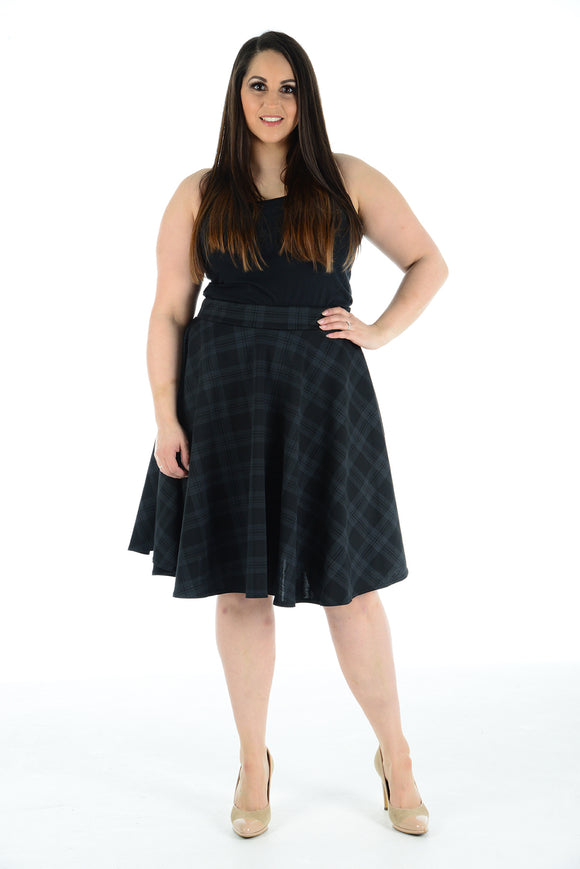 Womens New Charcoal Tartan Check Printed Ladies Stretch Fit Flared Skater Skirt Plus Size
