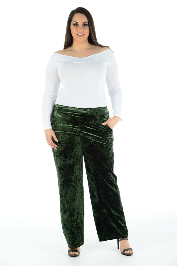 Women Velvet Palazzo Bottel Green Pants Wide Leg Elastic Waist Loose Trousers