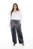 Women Velvet Palazzo Pants Charcoal Wide Leg Elastic Waist Loose Trousers