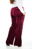 Women Velvet Palazzo Pants WIne Wide Leg Elastic Waist Loose Trousers
