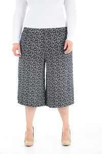 Womens Floral Printed Wide Leg Culottes 3/4 Length Trousers Palazzo Pants
