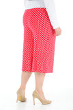 Womens Polka Dot Printed Wide Leg Culottes 3/4 Length Trousers Palazzo Pants