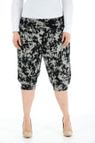 Women Printed Cropped 3/4 Harem Trouser Black White Dyed Print