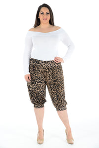 Women Printed Cropped 3/4 Harem Trouser Leopard Print