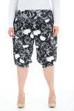 Women Printed Cropped 3/4 Harem Trouser Black Rose Skull Print