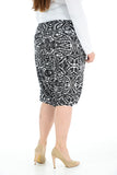 Women Printed Cropped 3/4 Harem Trouser Black Geometric Print