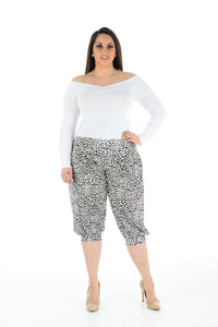 Women Printed Cropped 3/4 Harem Trouser Black White Leopard Print
