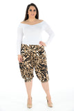Women Printed Cropped 3/4 Harem Trouser Cheeta Animal Print