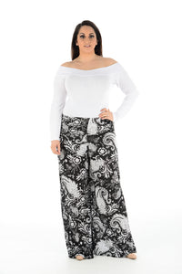 Shoulder-off White Top with Printed Palazzo