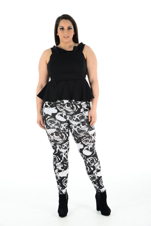 Women's Plus Size Legging Stretch Rose & Skull Printed Skinny Fit Legging Ladies Pants