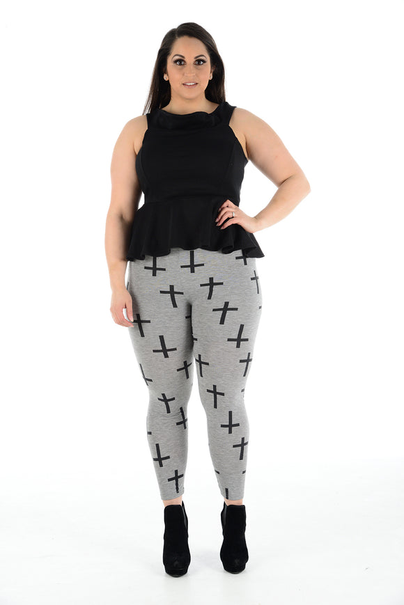 Women's Plus Size Cross Printed Skinny Fit Legging Ladies Pants