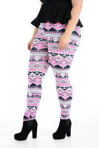 Women's Plus Size Legging Stretch Pink Aztec Printed Skinny Fit Legging Ladies Pants
