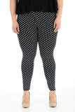 Women's Plus Size Legging Stretch Polka Dots Printed Skinny Fit Legging Ladies Pants