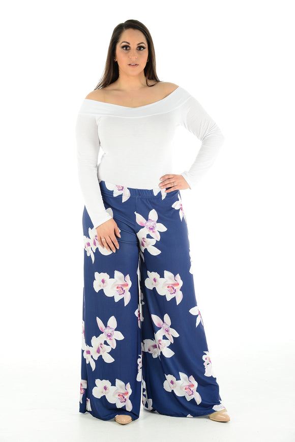 Womens Ladies Printed Palazzo Trousers Loose Fit Summer Pants Wide Leg