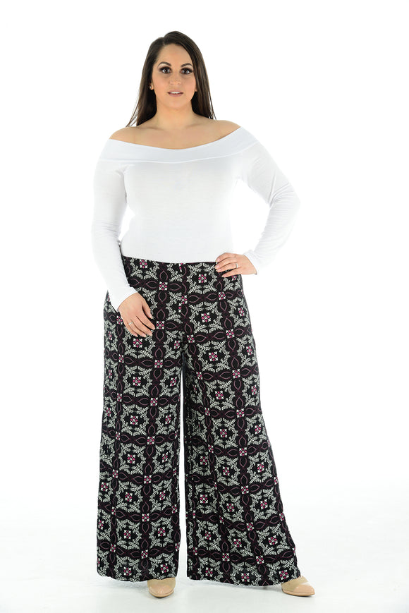 Women's Ladies Printed Palazzo Trousers Loose Fit Summer Pants Wide Leg