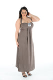New Women High Quality Grey  Sleeveless Maxi Dress Full Length Plus size For Ladies