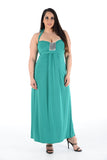 New Women Turquoise Sleeveless Knot Behind Neck Maxi Dress Full Length For Women