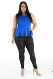Sleeveless Off Shoulder Peplum Top black uk seller casual formal wear royal blue
