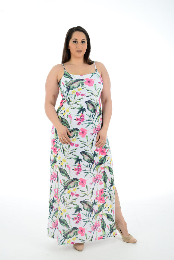 New Women While Floral Print Sleeveless Maxi Dress Full Length Plus size For Women