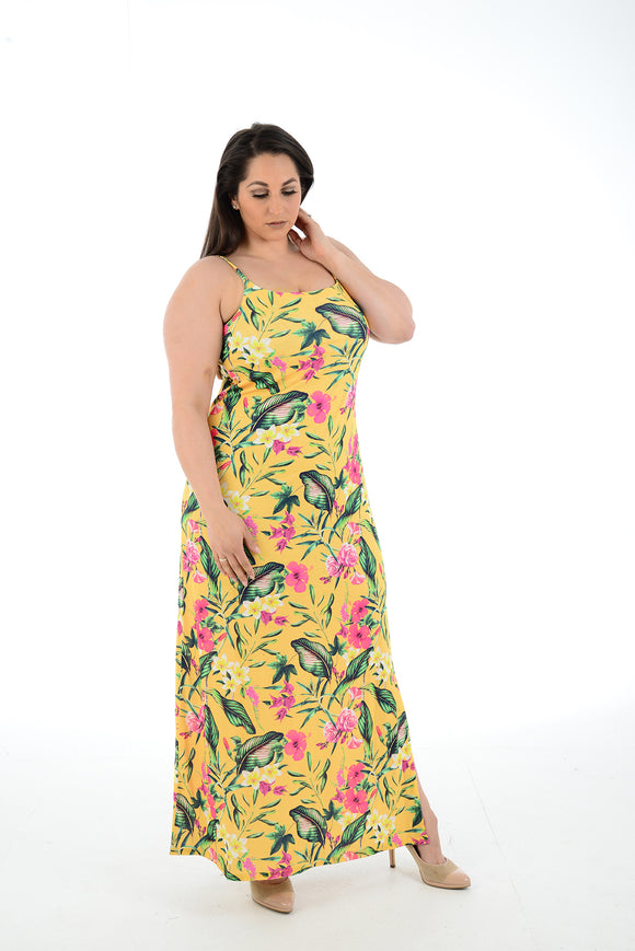 New Women Yellow floral printed  Sleeveless Maxi Dress Full Length Plus size For Women