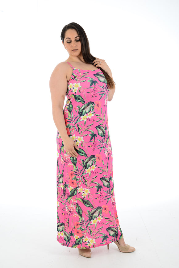 5d81eaf2a2488 New Women Pink Floral Printed Sleeveless Maxi Dress Full Length Plus size  For Women