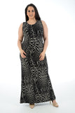 Women Sleeveless Digital Printed Black Maxi Dress Full Length Plus size