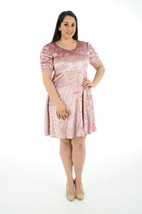 New Women Short Sleeve Velvet Skater Mini Dress For Ladies Plus Size
