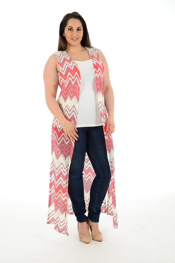 New Women Sleeveless Maxi Long Cardigan For Ladies Plus Size