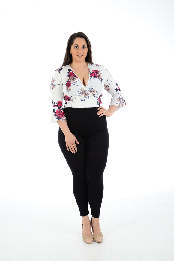 Women Floral Bell Sleeve Crop Top For Ladies