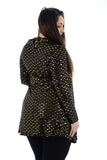 Women Polka dot Sequin Choker Round Neck Swing Dress For Ladies