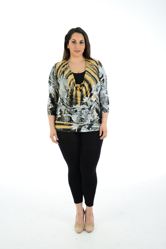 Women Floral Sequin 3/4 sleeve twin top