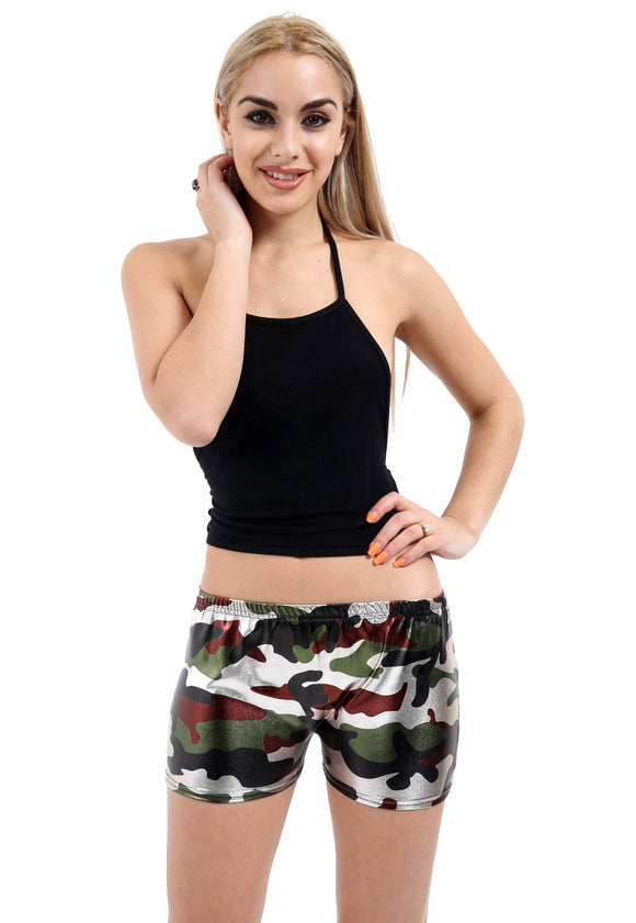 Womens Shiny Shorts Metallic Liquid Hot Pants Multi Colour Camouflage Hot Short