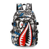 Vintage Graffiti Anime Shark Printing Backpack