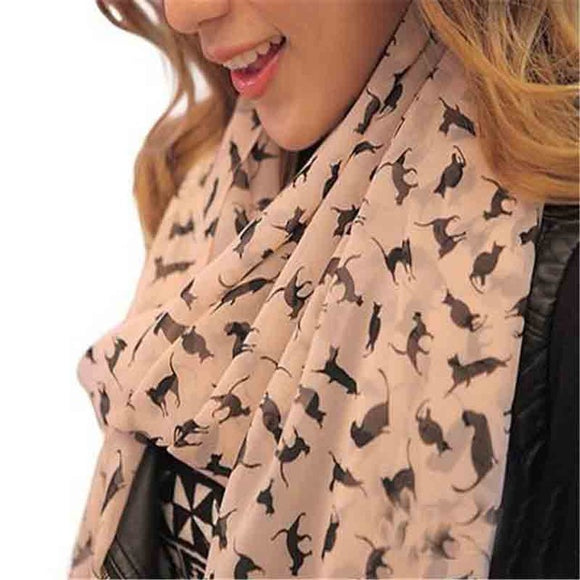 Women's Chiffon Colorful Animal Printed Shawl