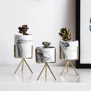 Nordic Minimalism Style Marble Pattern Golden Ceramics Iron Art Vase Tabletop Flower Pot