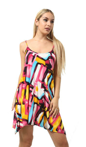 Womens Printed Floral Camisole Cami Dress Strappy Vest Top Swing Mini Dress