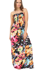 New Womens Ladies Floral Print Elasticated Bust Bandeau Sheering Maxi Dress